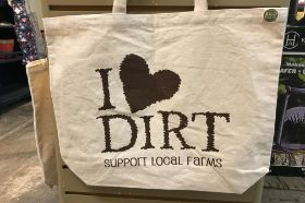 "Reusable Shopping Tote Bag Material: Natural Cotton 10 oz. Size: 19""W x 15.5""H x 5""Gusset (Bottom) Handle Size: 1.5""W x 9.75""Drop Length"