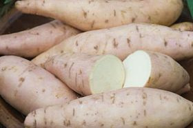 The variety is Bonita. The sweeter sweet potato. With double the sucrose content of O'Henry, Bonita delivers unbeatable sweetness. Tan-skinned with a pink cast, Bonita's bright white flesh with yellow tints is perfect for traditional potato dishes,