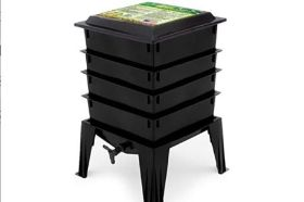 """The Worm Factory 360 has a standard 4-Tray size which is expandable up to 8 trays, giving it the largest volume of any home composter. The redesigned lid converts to a handy stand for trays while harvesting the compost. Includes Manual and a Warranty included after product registration. The accessory kit provides basic tools to make managing the Worm Factory 360 easier. Built in """"worm tea"""" collector tray and spigot for easy draining. The Worm Factory 360 has a standard 4-Tray size which is expandable up to 8 trays, giving it the largest volume of any home composter. The redesigned lid converts to a handy stand for trays while harvesting the compost. Qualifies for the Franklin County Soil and Water Community Backyards Program. More information here: https://www.franklinswcd.org/community-backyards-program To purchase online, the voucher must be emailed to info@cityfolksfarmshop.com"""